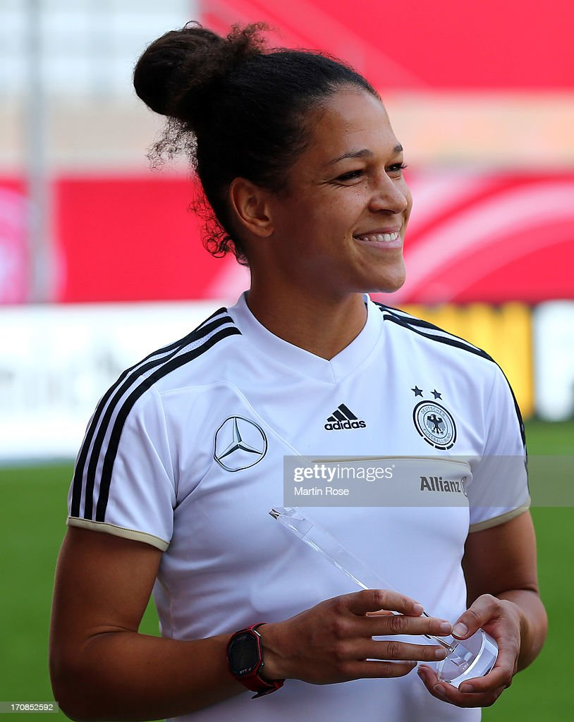Celia Okoyino Da Mbabi of Germany looks on before the Women's International Friendly match between Germany and Canada at Benteler Arena on June 19, 2013 in Paderborn, Germany.