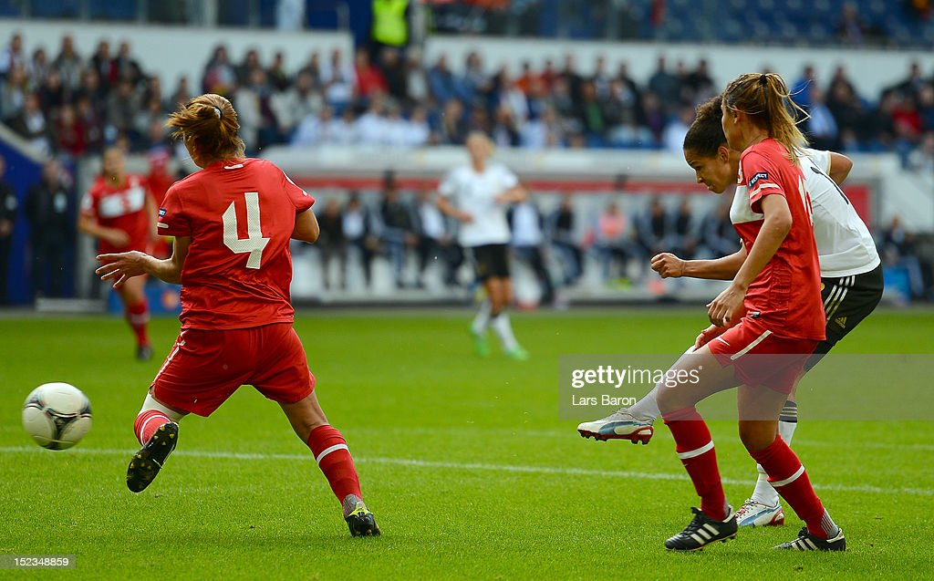 Celia Okoyino da Mbabi of Germany scores her teams first goal during the UEFA Womens Euro 2013 qualification match between Germany and Turkey at Schauinsland-Reisen-Arena on September 19, 2012 in Duisburg, Germany.