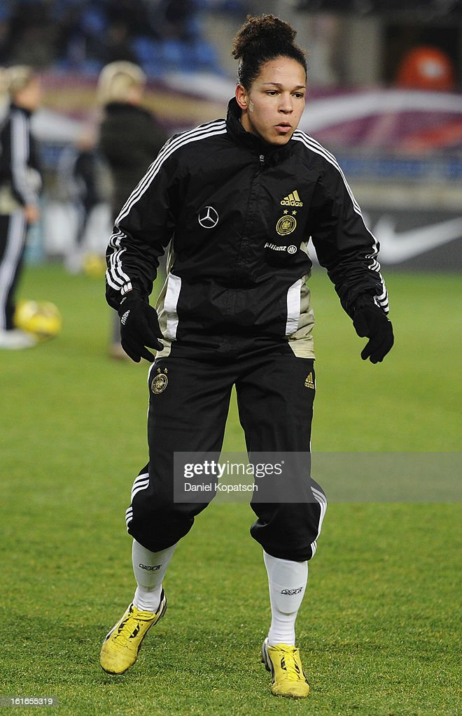 Celia Okoyino da Mbabi of Germany warms up prior the international friendly match between France and Germany at Stade de la Meinau on February 13, 2013 in Strasbourg, France.