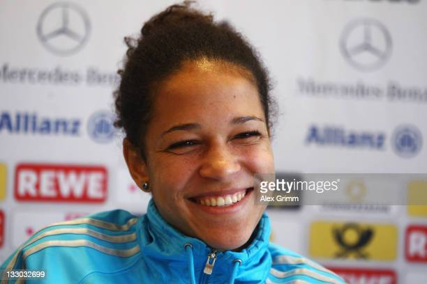 Celia Okoyino da Mbabi smiles during the Germany press conference at Dorint Pallas Hotel on November 16 2011 in Wiesbaden Germany