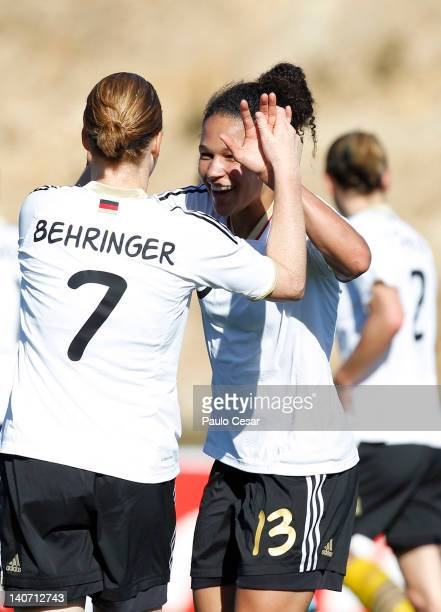 Celia Okoyno da Mbabi celebrates her goal with team mate Melanie Behringer during the Women Algarve Cup match between Germany and Sweden on March 5...
