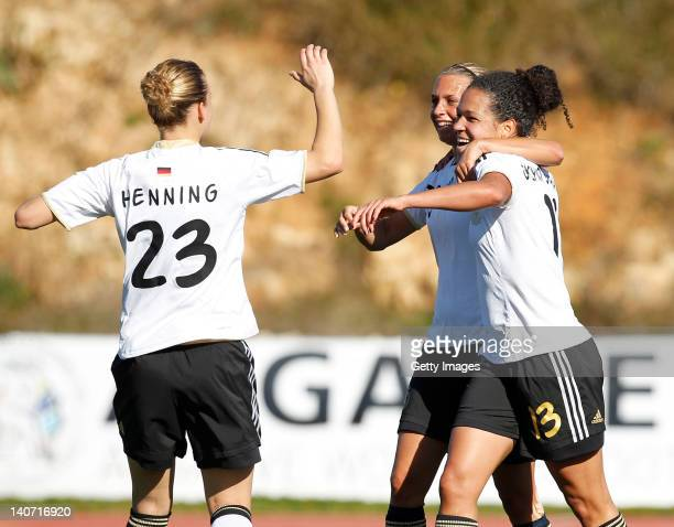 Celia Okoyno da Mbabi of Germany celebrates her goal with teammate Josephine Henning during the Women Algarve Cup match between Germany and Sweden on...