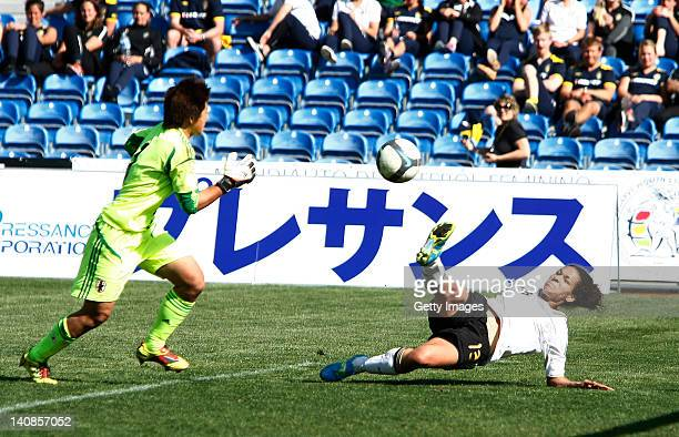 Celia Okoyno da Mbabi of Germany scores the winning goal during the final match of the Women Algarve Cup between Germany and Japan on March 7 2012 in...