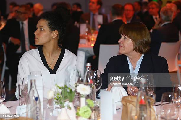 Celia Sasic and DFB Vice President Hannelore Ratzeburg are seen during the DFB Mercedes Benz Integration Prize Award Gala at German Football Museum...