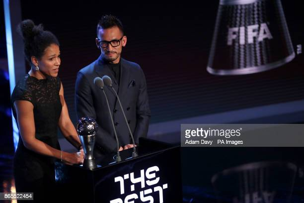 Celia Sasic and Hidetoshi Nakata present the award for FIFA Women's Player of the Year during the Best FIFA Football Awards 2017 at the Palladium...