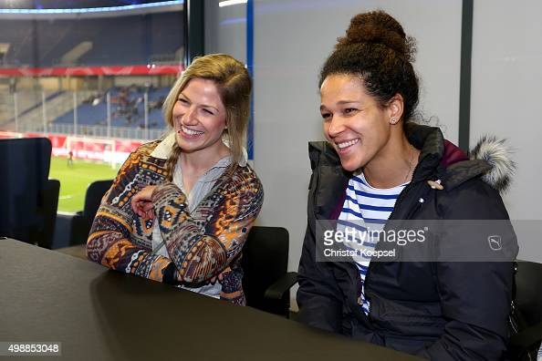 Celia Sasic and winner Stephanie Schwehm during the Meet and Greet of the Fanclub Nationalmannschaft prior to the friendly match between Germany and...