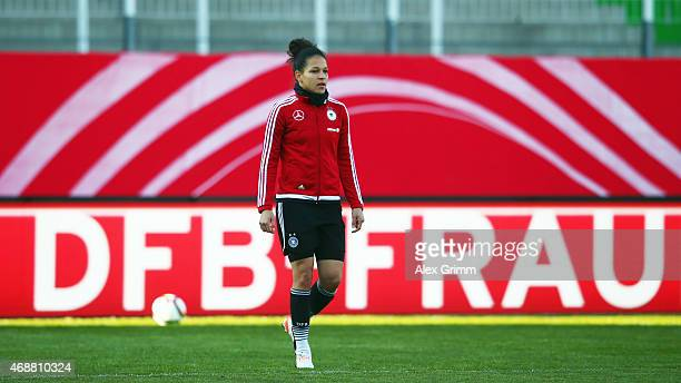 Celia Sasic attends a Germany training session ahead of their friendly match against Brazil at Sportpark Ronhof on April 7 2015 in Fuerth Germany