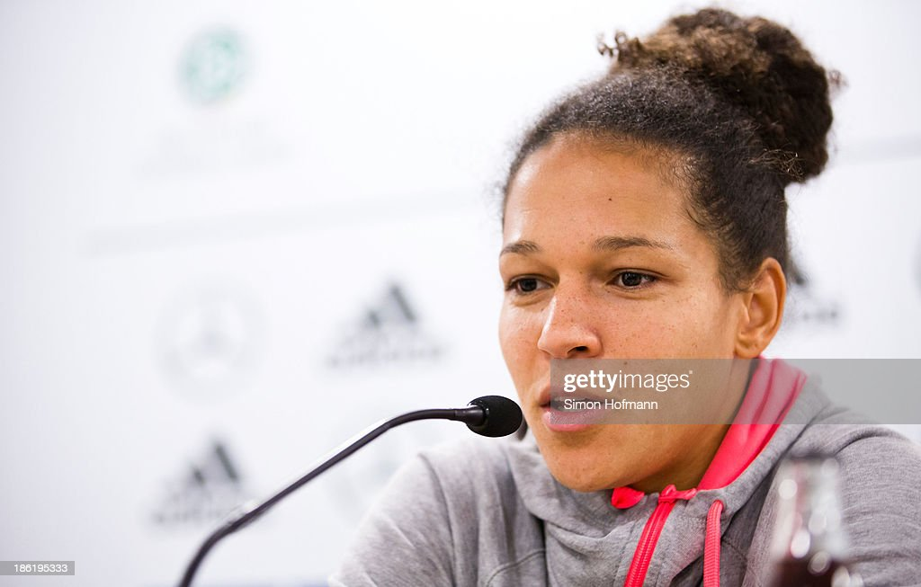 Celia Sasic attends a Germany women's press conference at Volksbank Stadion on October 29, 2013 in Frankfurt am Main, Germany.