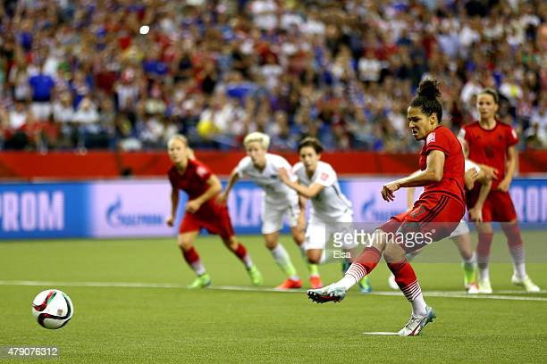 Celia Sasic of Germany misses a penalty kick against the United States in the second half in the FIFA Women's World Cup 2015 SemiFinal Match at...