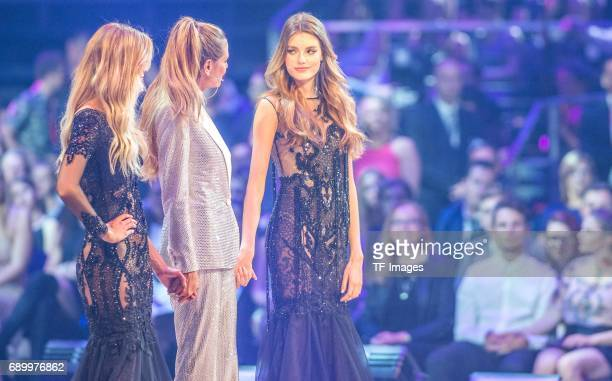 Celina Bethmann celebrates after being chosen as Germanys Next Topmodel 2017 during the final of Germanys Next Top Model TV show at...