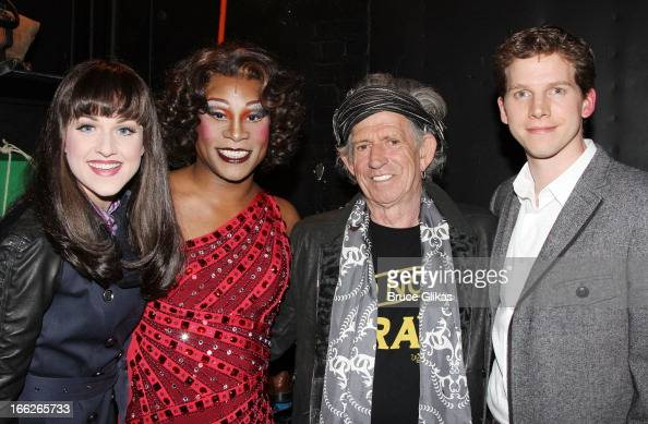 Celina Carvajal Billy Porter as 'Lola' Keith Richards and Stark Sands as 'Charlie' pose backstage at the hit musical 'Kinky Boots' on Broadway at The...