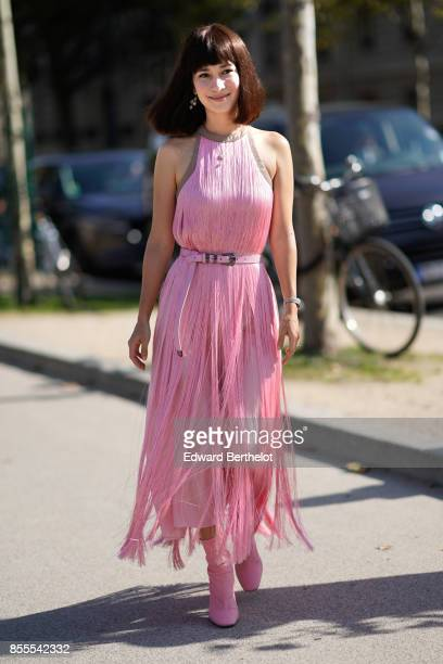 Celina Jade arrives at Nina Ricci show as part of the Paris Fashion Week Womenswear Spring/Summer 2018 on September 29 2017 in Paris France