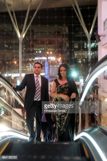 Celina Jaitley and Rahul Jashnani arrive at the launch of brand endorsment of Jashn Sarees at Atria Mall Worli