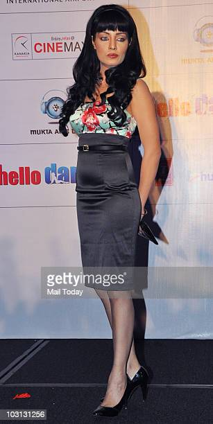 Celina Jaitley during the music launch of the film 'Hello Darling' in Mumbai on July 27 2010