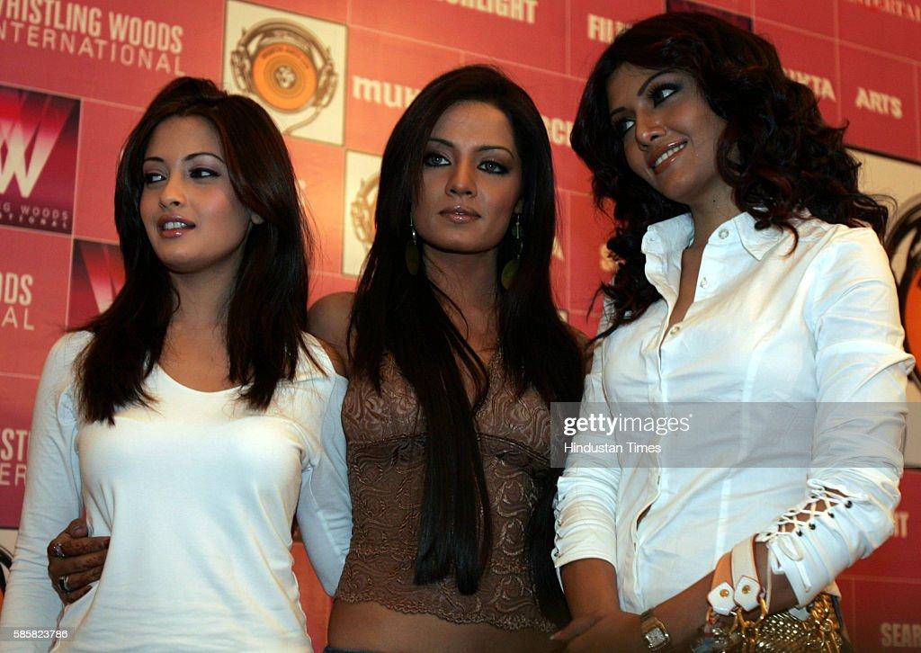 Celina Jaitly Koena Mitra and Riya Sen in the launch of new film Apna Sapna Money Money by Mukta Art Subhas Ghai at The Club Andheri