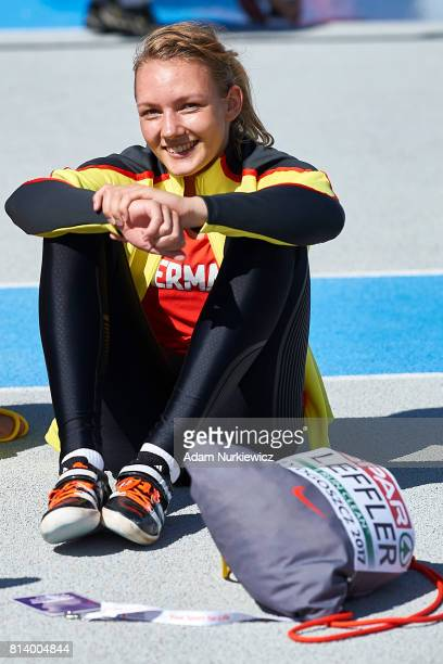 Celina Leffler from Germany smiles after women's high jump while heptathlon competition during Day 1 of European Athletics U23 Championships 2017 at...