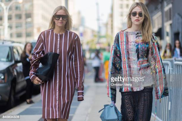 Celine Aagaard and Annabel Rosendahl seen in the streets of Manhattan outside Zimmermann during New York Fashion Week on September 11 2017 in New...