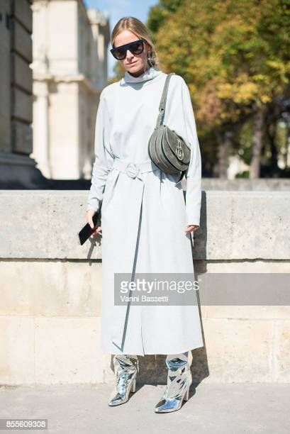 Celine Aagaard poses before the Nina Ricci show at the Hotel National des Invalides during Paris Fashion Week Womenswear SS18 on September 29 2017 in...