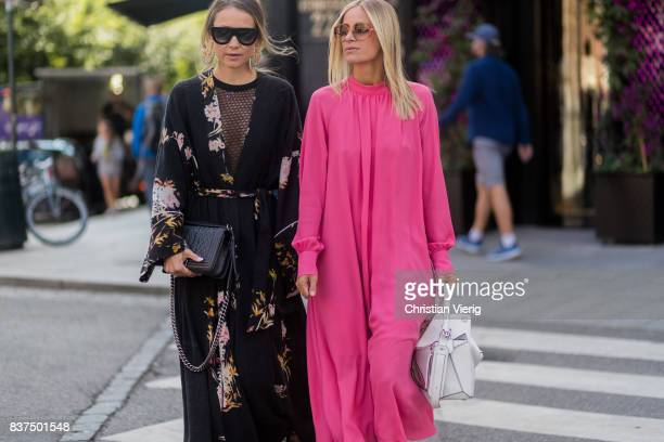 Celine Aagaard wearing a pink dress white Loewe bag outside byTiMo on August 22 2017 in Oslo Norway