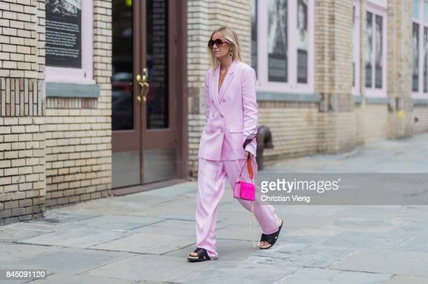 Celine Aagaard wearing pink suit seen in the streets of Manhattan outside Tibi during New York Fashion Week on September 9 2017 in New York City