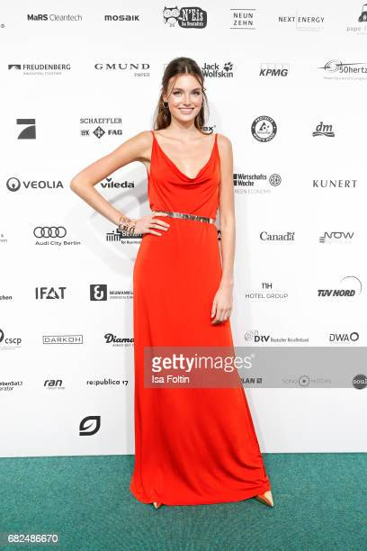 Celine Badman GNTM top 8 finalist wearing a dress designed by Eva Lutz attends the GreenTec Awards at ewerk on May 12 2017 in Berlin Germany