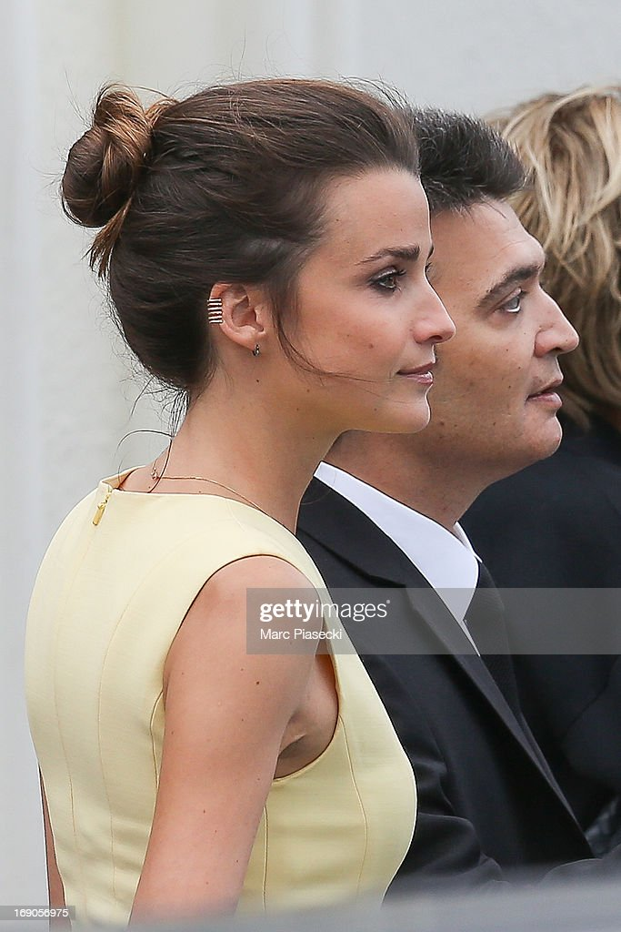 Celine Bosquet and Thomas Langmann are seen leaving the 'Grand Hyatt Hotel Martinez Cannes' during the 66th Annual Cannes Film Festival on May 19, 2013 in Cannes, France.