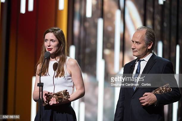 Celine Devaux and Hyppolite Girardot on stage during The Cesar Film Award Ceremony 2016 at Theatre du Chatelet on February 26 2016 in Paris France