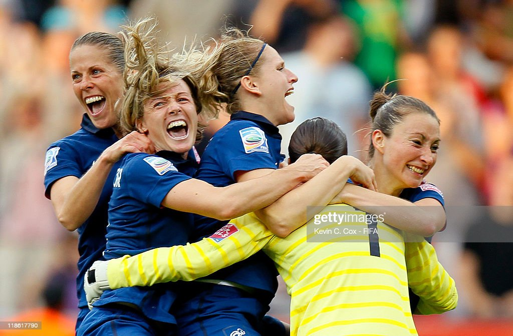 Celine Deville of France celebrates with teammates after a 5-4 win in a penalty shootout over England during the FIFA Women's World Cup 2011 Quarter Final match between England and France at the FIFA Women's World Cup Stadium Leverkusen on July 9, 2011 in Leverkusen, Germany.