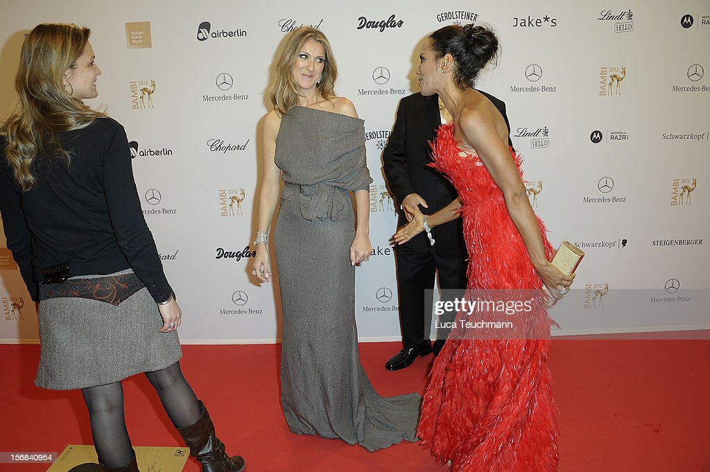 Celine Dion and <a gi-track='captionPersonalityLinkClicked' href=/galleries/search?phrase=Barbara+Becker&family=editorial&specificpeople=544060 ng-click='$event.stopPropagation()'>Barbara Becker</a> attend 'BAMBI Awards 2012' at the Stadthalle Duesseldorf on November 22, 2012 in Duesseldorf, Germany.