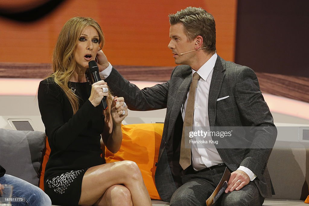 Celine Dion and Markus Lanz attend Wetten, dass..? tv show on November 09, 2013 in Halle an der Saale, Germany.