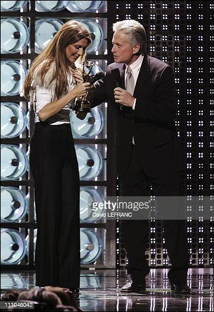 Celine Dion and Michael Douglas at The sixteenth World Music Award in Las Vegas United States on September 16 2004