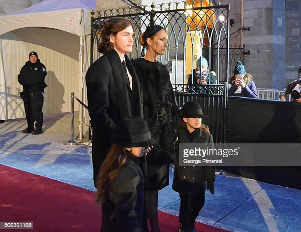Celine Dion and sons ReneCharles Angelil Nelson Angelil and Eddy Angelil attend the State Funeral Service for Celine Dion's husband Rene Angelil at...