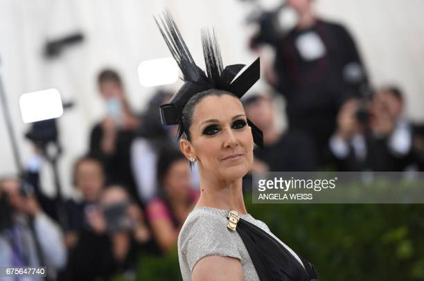 TOPSHOT Celine Dion arrives for the Costume Institute Benefit on May 1 2017 at the Metropolitan Museum of Art in New York / AFP PHOTO / ANGELA WEISS