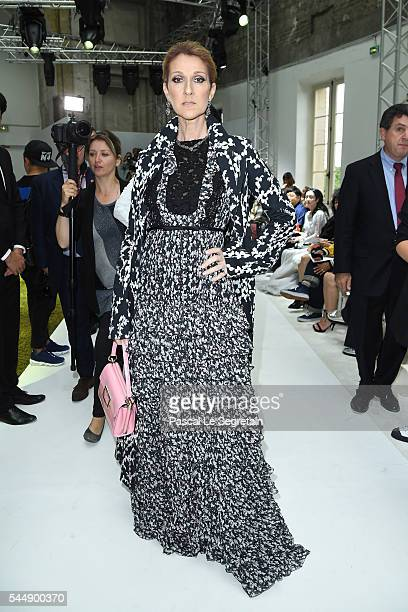 Celine Dion attends the Giambattista Valli Haute Couture Fall/Winter 20162017 show as part of Paris Fashion Week on July 4 2016 in Paris France