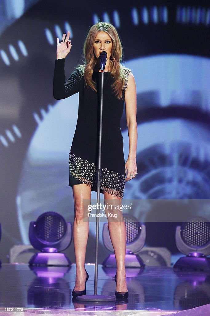Celine Dion attends Wetten, dass..? tv show on November 09, 2013 in Halle an der Saale, Germany.
