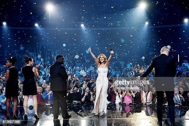 Celine Dion celebrates her 1000th show at The Colosseum at Caesars Palace on October 8 2016 in Las Vegas Nevada