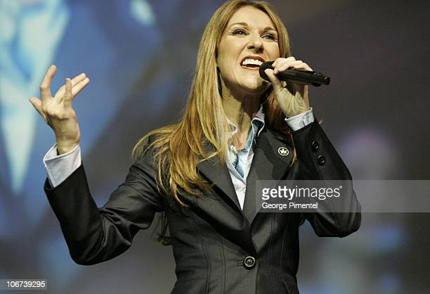 Celine Dion during Celine Dion Performs Private Concert for Air Canada Employees and Press Conference at Air Canada Headquarters Complex in Montreal...