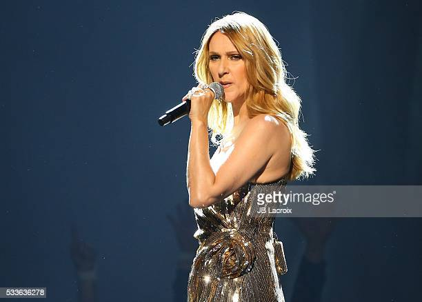 Celine Dion is seen on stage during the 2016 Billboard Music Awards held at the TMobile Arena on May 22 2016 in Las Vegas Nevada