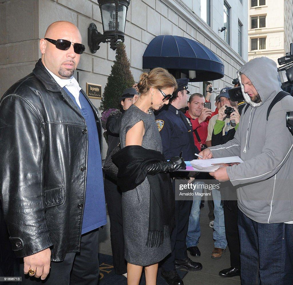 Celine Dion leaves her hotel on October 14, 2009 in New York City.