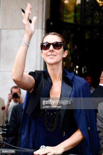 Celine Dion leaves the Four Seasons George V hotel on May 20 2008 in Paris France