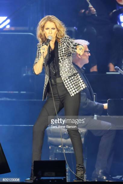 Celine Dion performs at Allianz Riviera Stadium on July 20 2017 in Nice France