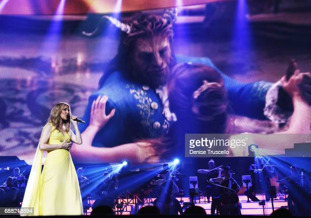 Celine Dion performs Beauty and The Beast's 'How Does a Moment Last Forever' at The Colosseum at Caesars Palace on May 24 2017 in Las Vegas Nevada