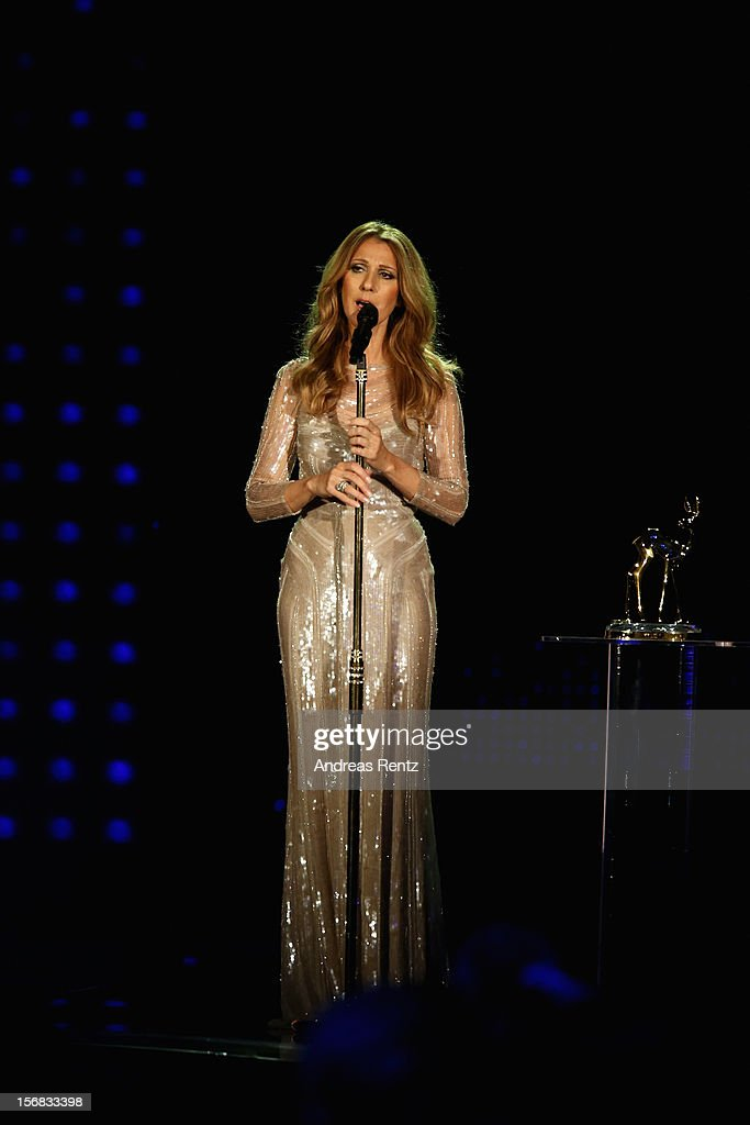 Celine Dion performs during the 'BAMBI Awards 2012' at the Stadthalle Duesseldorf on November 22, 2012 in Duesseldorf, Germany.