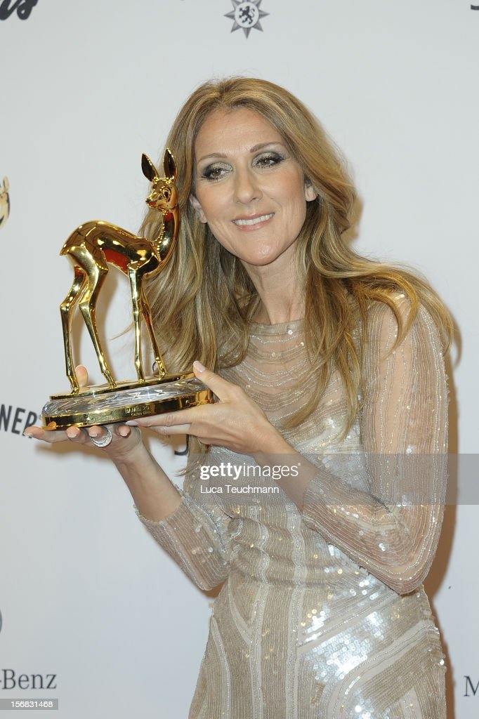 Celine Dion poses in front of the winners board during the 'BAMBI Awards 2012' at the Stadthalle Duesseldorf on November 22, 2012 in Duesseldorf, Germany.