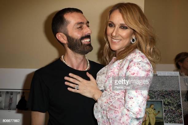 Celine Dion poses with Giambattista Valli at the Giambattista Valli Haute Couture Fall/Winter 20172018 show as part of Haute Couture Paris Fashion...