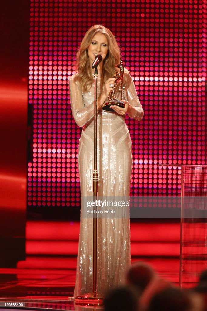 <a gi-track='captionPersonalityLinkClicked' href=/galleries/search?phrase=Celine+Dion&family=editorial&specificpeople=202973 ng-click='$event.stopPropagation()'>Celine Dion</a> receives a Bambi from Peter Maffay during the 'BAMBI Awards 2012' at the Stadthalle Duesseldorf on November 22, 2012 in Duesseldorf, Germany.