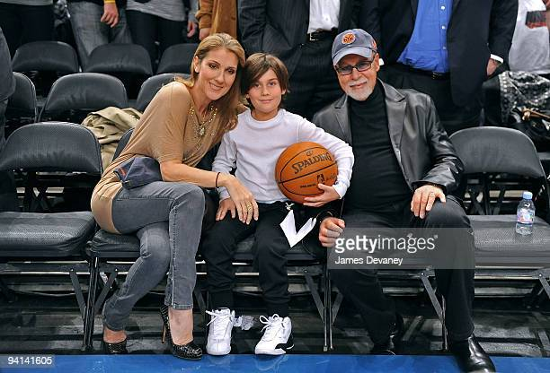 Celine Dion Rene Charles Angelil and Rene Angelil attend the Portland Trailblazers Vs New York Knicks game at Madison Square Garden on December 7...