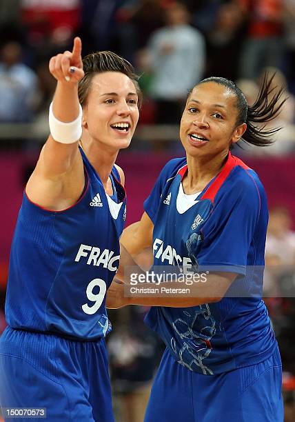 Celine Dumerc and Edwige LawsonWade of France celebrate after defeating Russia 8164 in the Women's Basketball semifinal on Day 13 of the London 2012...