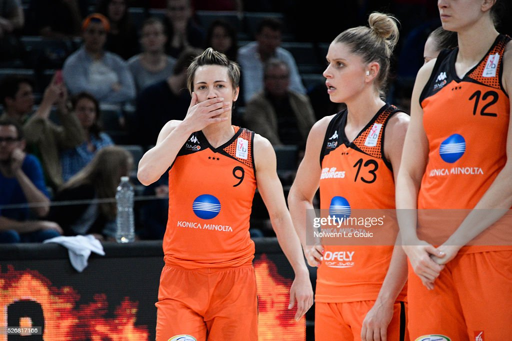 Celine Dumerc of Bourges is dejected during the French Cup final match between Bourges and Lattes Montpellier at Hotel Accor Arena Bercy on 1st May, 2016 in Paris, France.