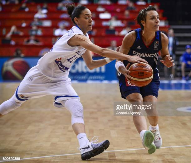 Celine Dumerc of France in action against Angeliki Nikolopoulou of Greece during the 2017 FIBA EuroBasket Women's semifinal match between Greece and...